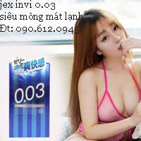 Bao Cao Su Jex 0.03 Invi Cool Trong suốt mát lạnh độc đáo
